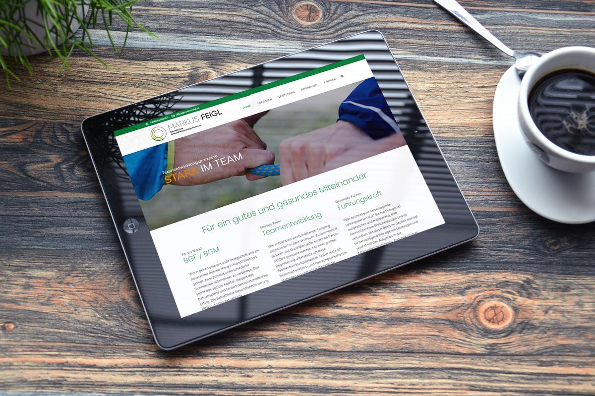 medienvirus - WordPress & WooCommerce aus Berlin - neue Webseite für Markus Feigl - betriebliches Gesundheitsmanagement - Responsive Webdesign