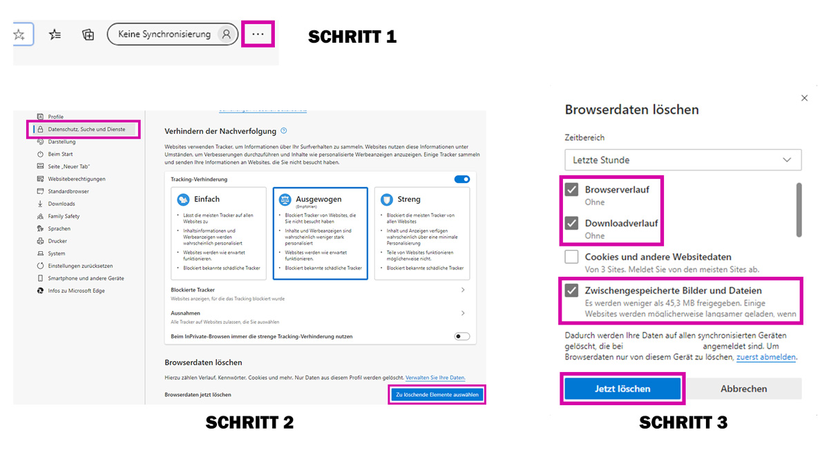 medienvirus.de - FAQ - Den Browser-Cache richtig löschen - Microsoft Edge