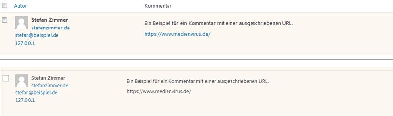 URLs in Kommentaren deaktivieren - medienvirus