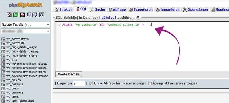 die SQL query entfernt alte IP Adressen