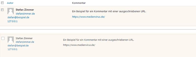 URLs in Kommentaren deaktivieren - medienvirus - get infected
